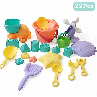 Børn Soft Silicone Beach Sandbox Kit Set, Hav sandspand, Rake, Timeglas,