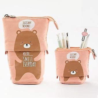 Cute Cat School Pencil Case Boy - Canvas Cartridge Pen Bag