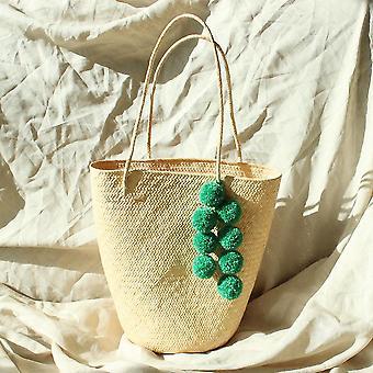 Βόρνεο Serena άχυρο tote τσάντα με pom-poms