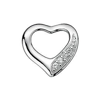 Elementos plata clara cúbica Zirconia cortar corazón Pave colgante en una cadena de longitud 46cm