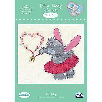 DMC meg til deg tatty teddy telles kors sting kit - rosa fairy