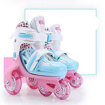 带双制动器的四轮滚筒滑板,可调节透气,闪光滑冰
