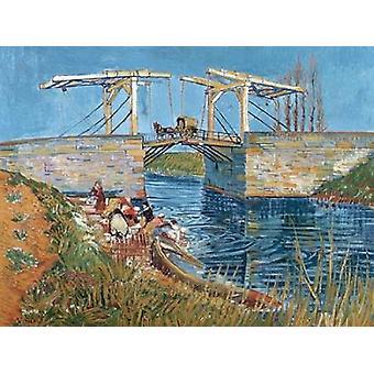 Langlois-Brücke mit Frauen waschen Poster Print von Vincent Van Gogh