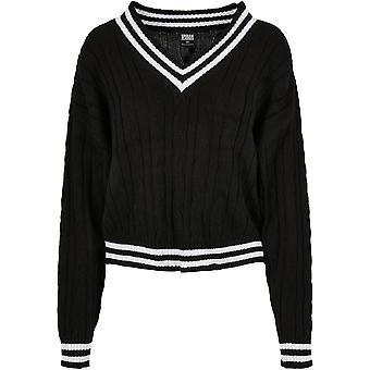 Urban Classics Women's Sweatshirt Short V-Neck College