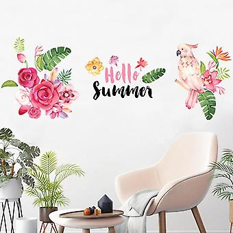 Hello Summer-floral Pvc Wall Stickers