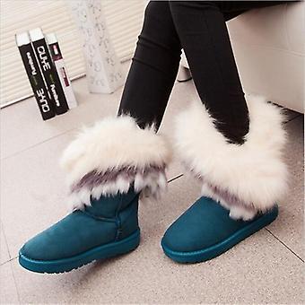 נשים שטוחות קרסול מגפי שלג פרווה חורף נעליים חמות בהון עגול נקבה עדר