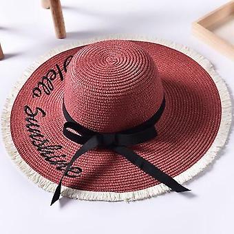 Käsintehty kudonta kirje aurinkohatut, musta nauha pitsi ylös suuri brim olki hattu