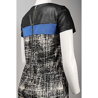 Faux Leather Front Grunge Pattern Textured Polyester Dress. Lined. By