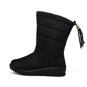 Winter Mid-calf Waterproof Snow Boots Wedges Warm Fur Female Footwear