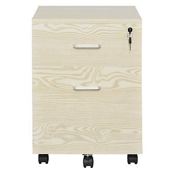 Vinsetto 2-Drawer Locking Office Filing Cabinet w/ 5 Wheels Rolling Storage Hanging Legal Letter Files Cupboard Home Organisation Oak