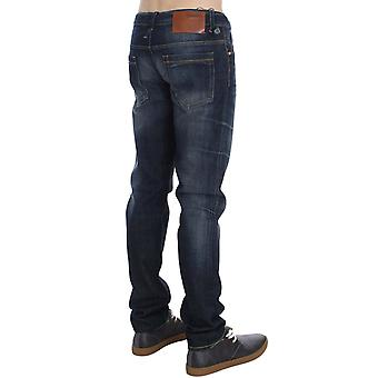 Acht Blue Wash Cotton Denim Slim Fit Skórzane tagi dżinsy