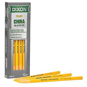 Phano China Markers, Yellow, Pack Of 12