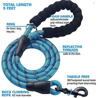 2 Pack 5 Ft Heavy Duty Dog Reflective Leash With Padded Handle