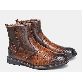 Leder Winter Schneestiefel & handgemachte warme Stiefel