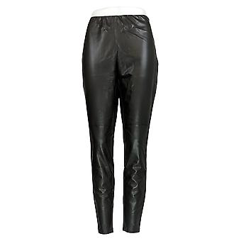 Lisa Rinna Collectie Leggings Faux Leather Side Rits Zwart A344803