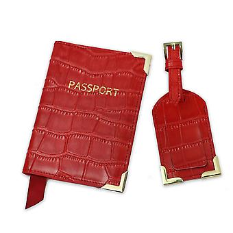 Moda Monogrammed Lettere iniziali Unisex Saffiano Porta passaporto in pelle