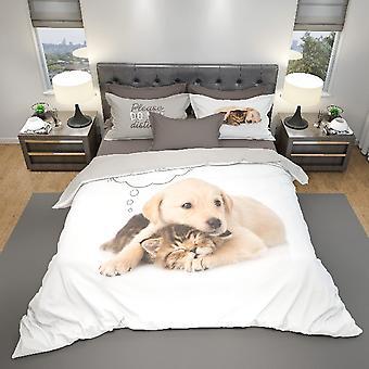 Parure Mehrfarbige Welpen Bettbezug aus Baumwolle, L150xP200 cm, L52xP82 cm