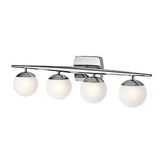 Lámpara De Pared Jasper, Cromo Pulido, Vidrio Opal, 4 Led