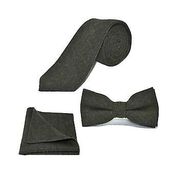 Highland Weave Bosque Verde Pajarita, Corbata & Conjunto cuadrado de bolsillo