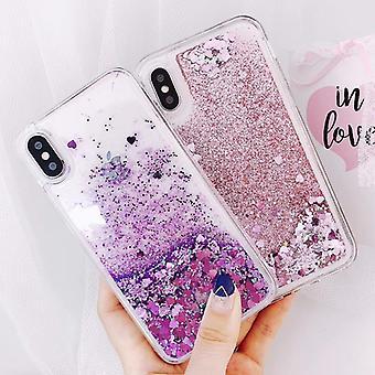 Heart Shapes Quicksand Liquid Glitter Phone Case