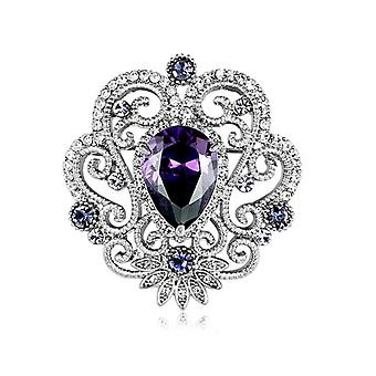 Brooch Pin Purple Zirconcorsage Diamond Inlaid Ladies Brooch