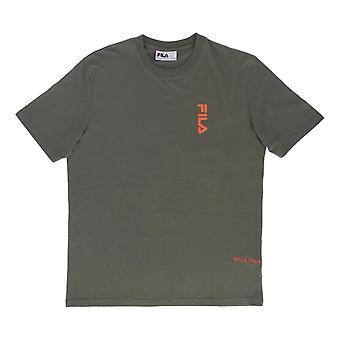 フィラデッキハンドプリントTシャツ - ダスティオリーブ