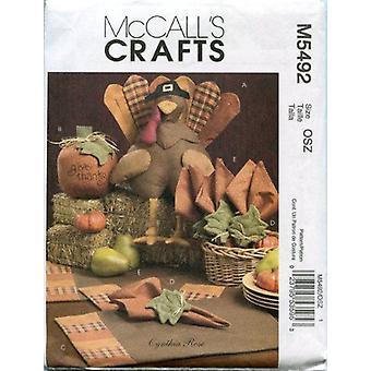 McCalls ompelu kuvio 5492 Harvest Tabletop Sisustus Tarvikkeet Kiitospäivä Yksi koko