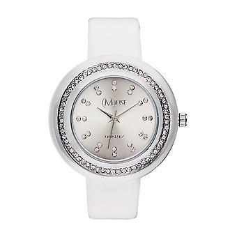 Muse - Silver Woman's Watch - 'Mundi'apos; - white leather bracelet