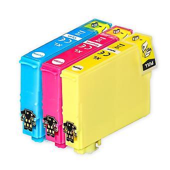 1 sæt 3 blækpatroner til udskiftning af Epson 502XL C/M/Y-kompatibel/ikke-OEM fra Go-blæk (3 trykfarver)