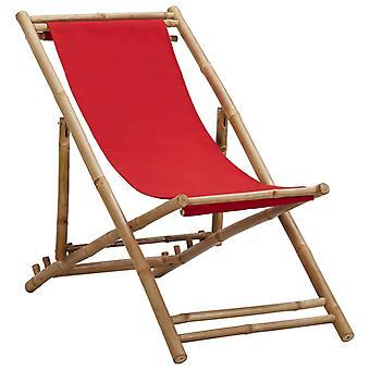 vidaXL Deckchair Bambu ja Kangas Punainen