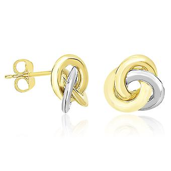 14k Two-Tone Gold Shiny Intertwined Open Circle Earrings