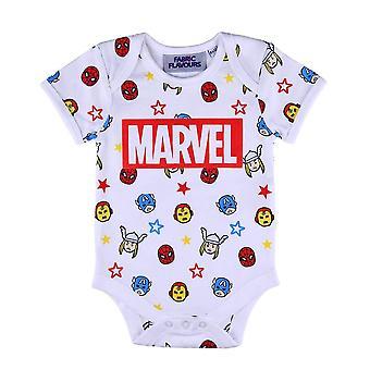 Marvel Comics Logo and Icons AOP White Babygrow