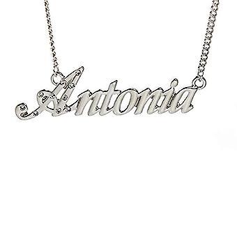 KL Kigu Antonia - Kvinders halskæde belagt med 18 karat hvidguld, med navn, moderigtigt, gave til kæreste, mor, søster