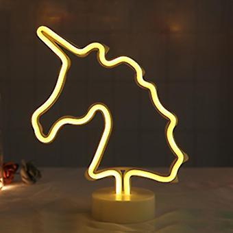 Usb Baterie Led Neon Light Flamingo nucă de cocos Copac Cactus Unicorn Forma Lampa