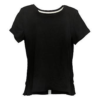 Isaac Mizrahi Live! Women's Top Reg Essentials Scoop-Neck Black A353921