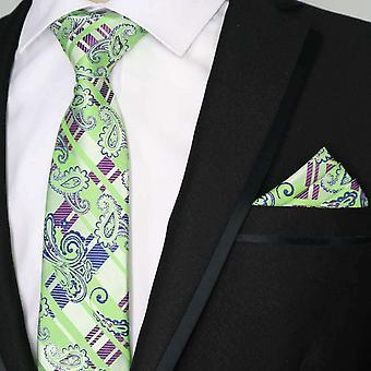 Vaaleanvihreä & violetti Tartan Paisley tasku neliön & tie