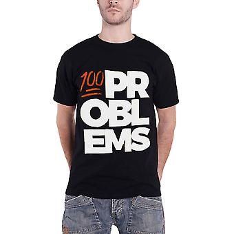 Mens Black 100 Problems T Shirt Block Logo Slogan new