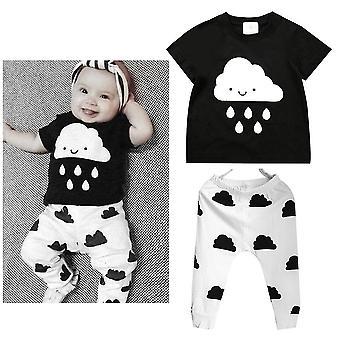Roztomilé dětské oblečení s krátkým rukávem Mraky Raindrop Print Tričko + Kalhoty Outfit