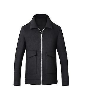 Chaqueta de negocios de negocios de mezcla de lana corta de invierno de invierno de ajuste cálido (L)