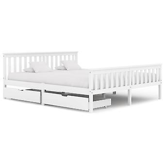 إطار سرير vidaXL مع 2 الأدراج الصنوبر الخشب الصلب الأبيض 180x200 سم