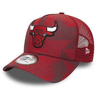 New Era Ajustable Trucker Cap-Chicago Bulls Red camo