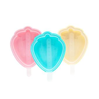 3-piece Reusable Soft Silicone Ice Cream Mold(Strawberry Type)