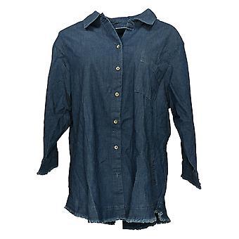 Belle by Kim Gravel Women's Top Denim Shirt with Pockets Blue A377276
