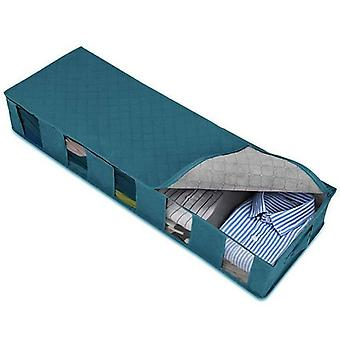 (Blue) Large Capacity UnderBed Clothes Storage Bags Ziped Organizer Wardrobe Cube Box