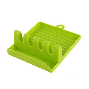 (Green) Heat Resistant Spoon Rest Cooking Utensil Silicone Spatula Holder Kitchen Tools