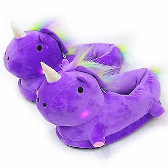 7 Colors Led Unicorn Slippers,women Adult Girls Kids Unicorn Cartoon Slip On Slippers(Purple)