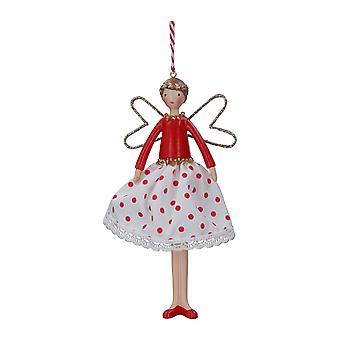 Gisela Graham Polka Fairy Christmas Tree Topper