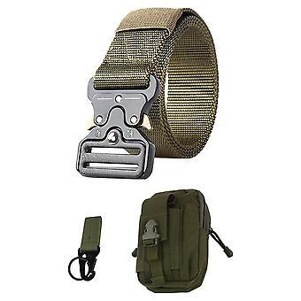 Cinturón táctico de estilo militar con bolso y barbilla verde
