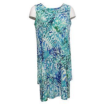 Susan Graver Petite Dress Liquid Knit Vestido sin mangas Tiered Dress Azul A377871