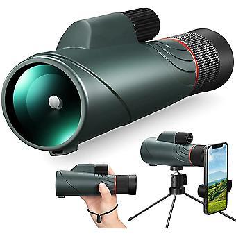 10-20X50 HD Potężny teleskop jednokularowy Wodoodporny monokularny starscope Zoom BAK4 Pryzmat i zielona powłoka FMC Metalowy statyw i uchwyt na telefon do polowania na ptaki, (zielony)